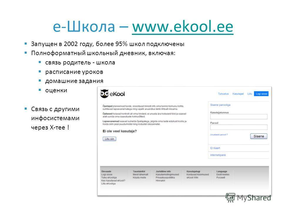 e-Школа – www.ekool.eewww.ekool.ee Запущен в 2002 году, более 95% школ подключены Полноформатный школьный дневник, включая: связь родитель - школа расписание уроков домашние задания оценки Связь с другими инфосистемами через X-тее !