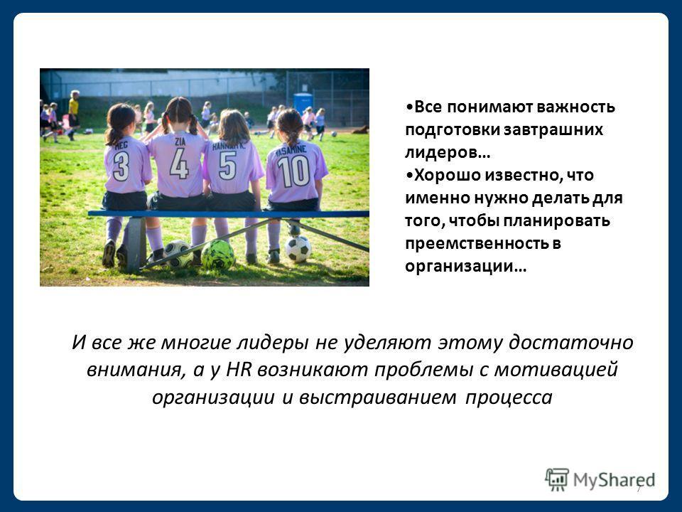 6 Правильные люди Правильные работы Правильное время Делаем максимум для развития лидеров сегодня, чтобы достигать целей бизнеса завтра