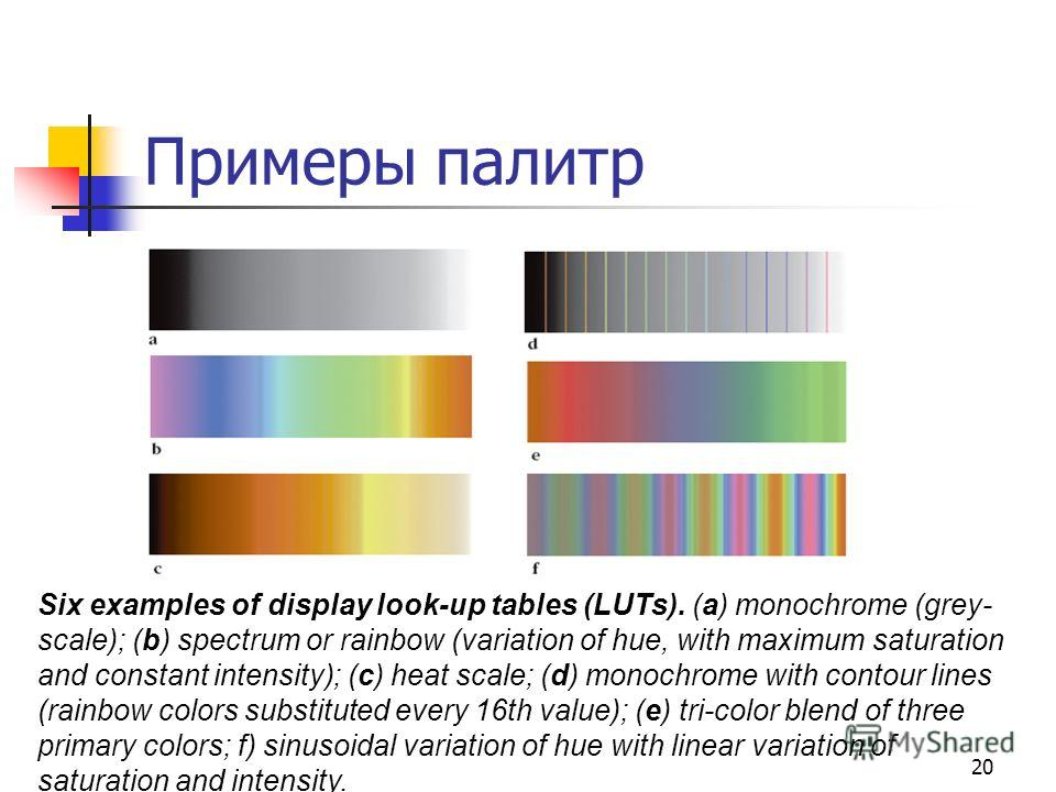 20 Примеры палитр Six examples of display look-up tables (LUTs). (a) monochrome (grey- scale); (b) spectrum or rainbow (variation of hue, with maximum saturation and constant intensity); (c) heat scale; (d) monochrome with contour lines (rainbow colo