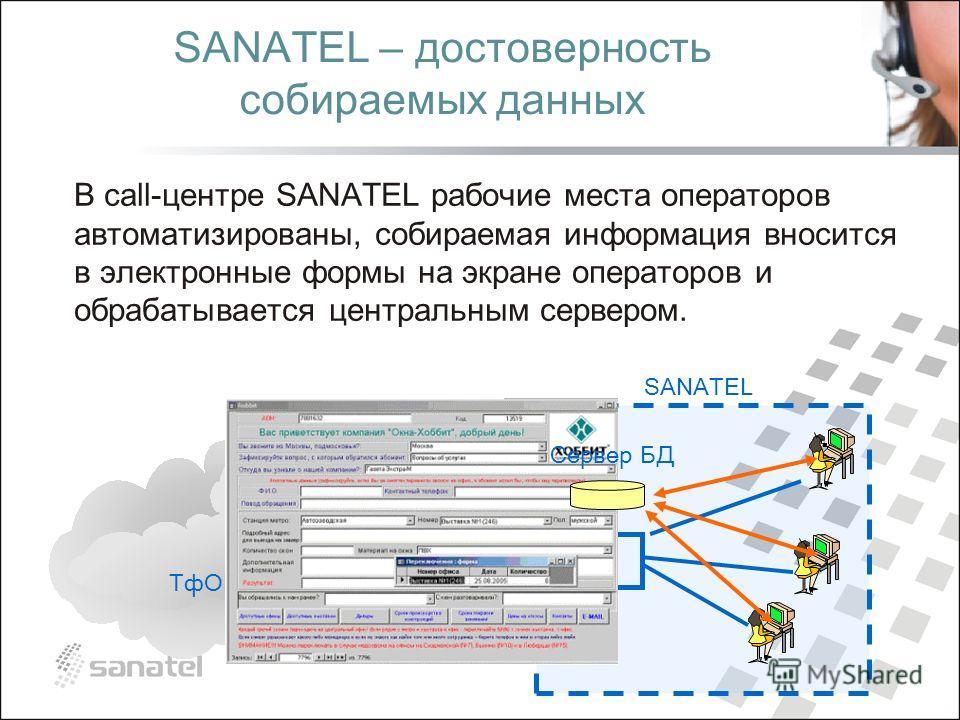 ТфОП SANATEL SANATEL – достоверность собираемых данных В call-центре SANATEL рабочие места операторов автоматизированы, собираемая информация вносится в электронные формы на экране операторов и обрабатывается центральным сервером. Сервер БД