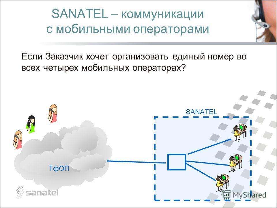 ТфОП SANATEL – коммуникации с мобильными операторами SANATEL Если Заказчик хочет организовать единый номер во всех четырех мобильных операторах?