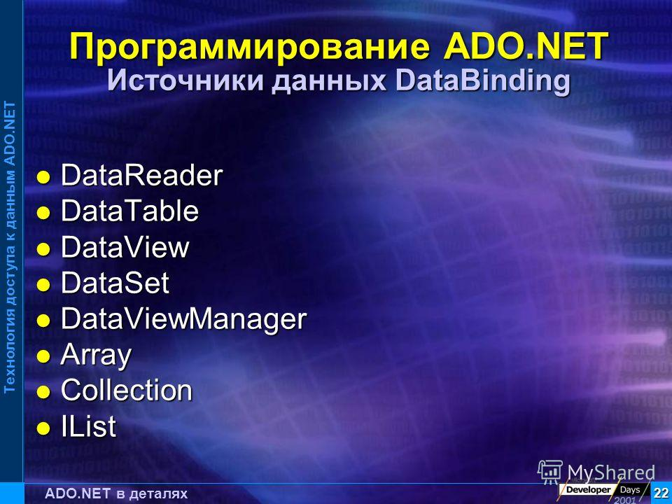 Технология доступа к данным ADO.NET 22 ADO.NET в деталях Программирование ADO.NET Источники данных DataBinding DataReader DataReader DataTable DataTable DataView DataView DataSet DataSet DataViewManager DataViewManager Array Array Collection Collecti