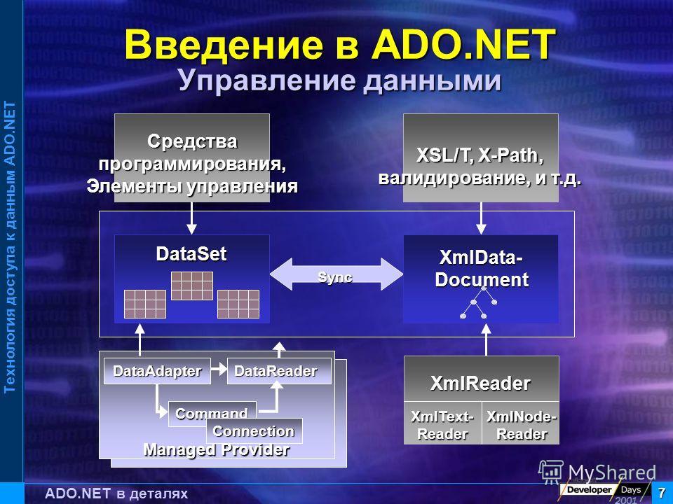Технология доступа к данным ADO.NET 7 ADO.NET в деталях Введение в ADO.NET Управление данными Managed Provider DataReader Command Connection Sync Средствапрограммирования, Элементы управления DataSet XmlReader XmlText-ReaderXmlNode-Reader XSL/T, X-Pa