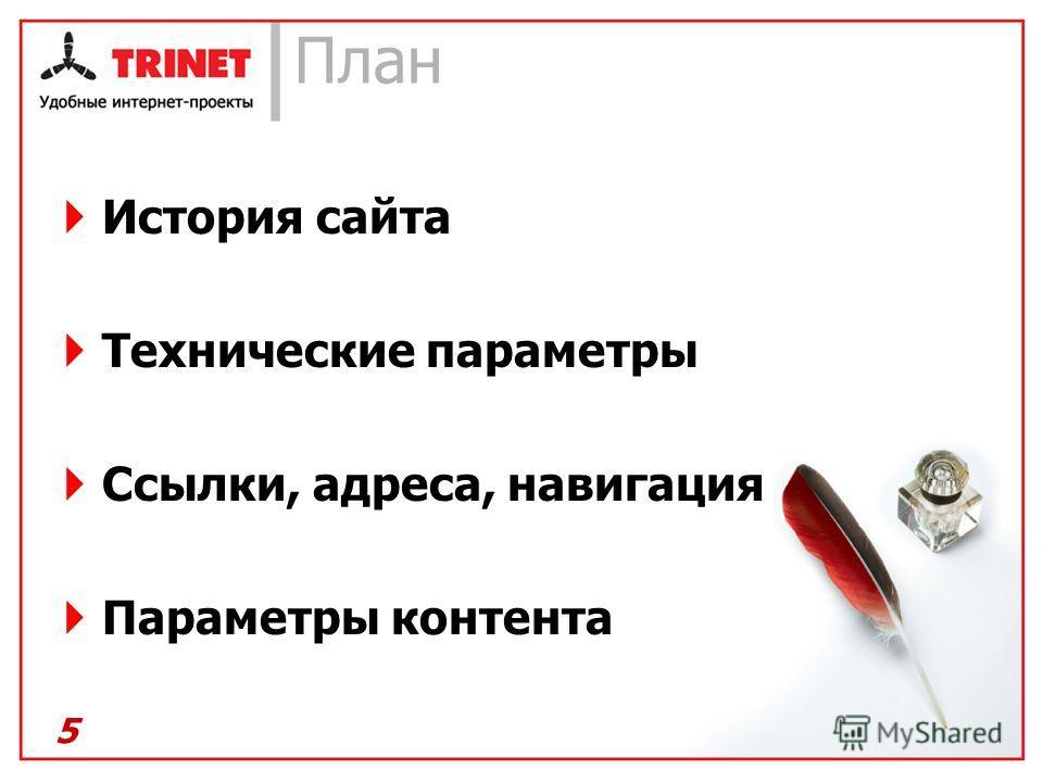 План История сайта Технические параметры Ссылки, адреса, навигация Параметры контента 5