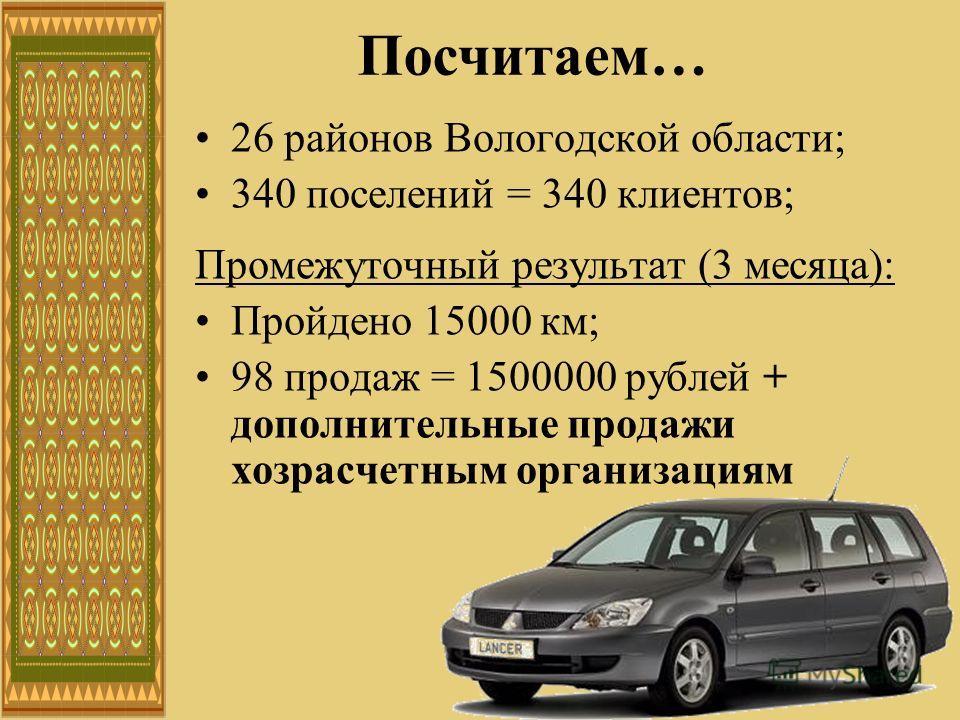 26 районов Вологодской области; 340 поселений = 340 клиентов; Промежуточный результат (3 месяца): Пройдено 15000 км; 98 продаж = 1500000 рублей + дополнительные продажи хозрасчетным организациям Посчитаем…