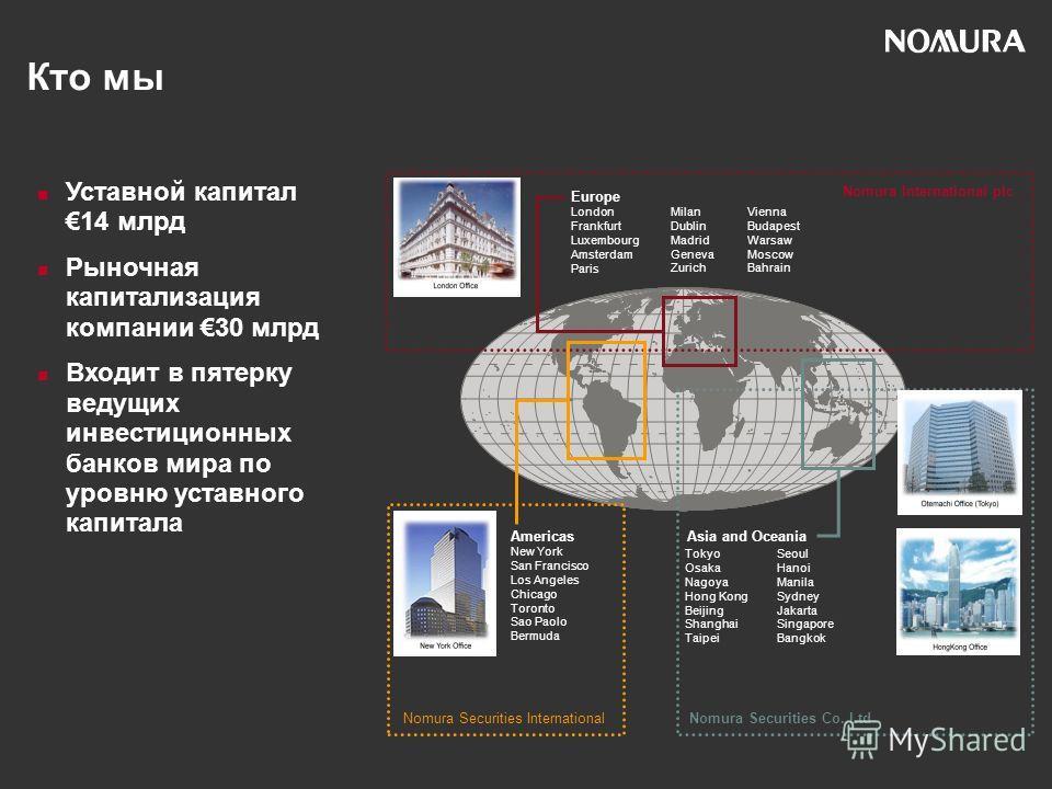 Уставной капитал14 млрд Рыночная капитализация компании 30 млрд Входит в пятерку ведущих инвестиционных банков мира по уровню уставного капитала Nomura Securities International Nomura International plc Nomura Securities Co. Ltd Europe London Frankfur