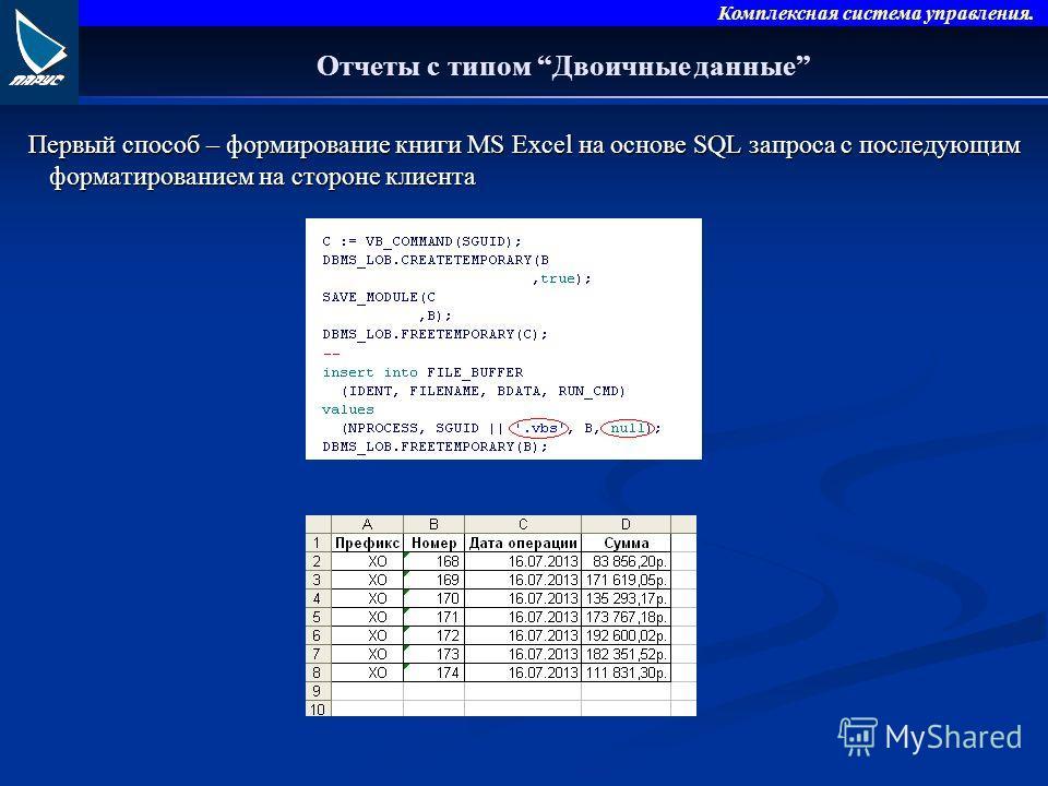 Комплексная система управления. Отчеты с типом Двоичные данные Первый способ – формирование книги MS Excel на основе SQL запроса с последующим форматированием на стороне клиента