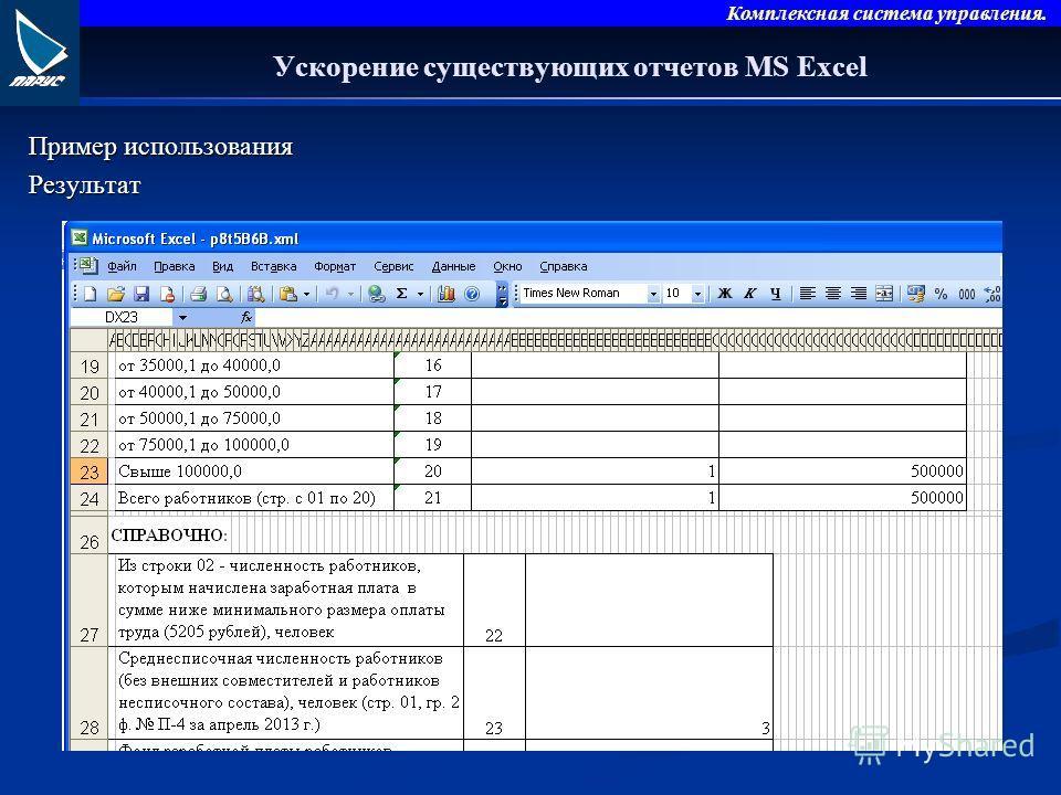 Комплексная система управления. Ускорение существующих отчетов MS Excel Пример использования Результат
