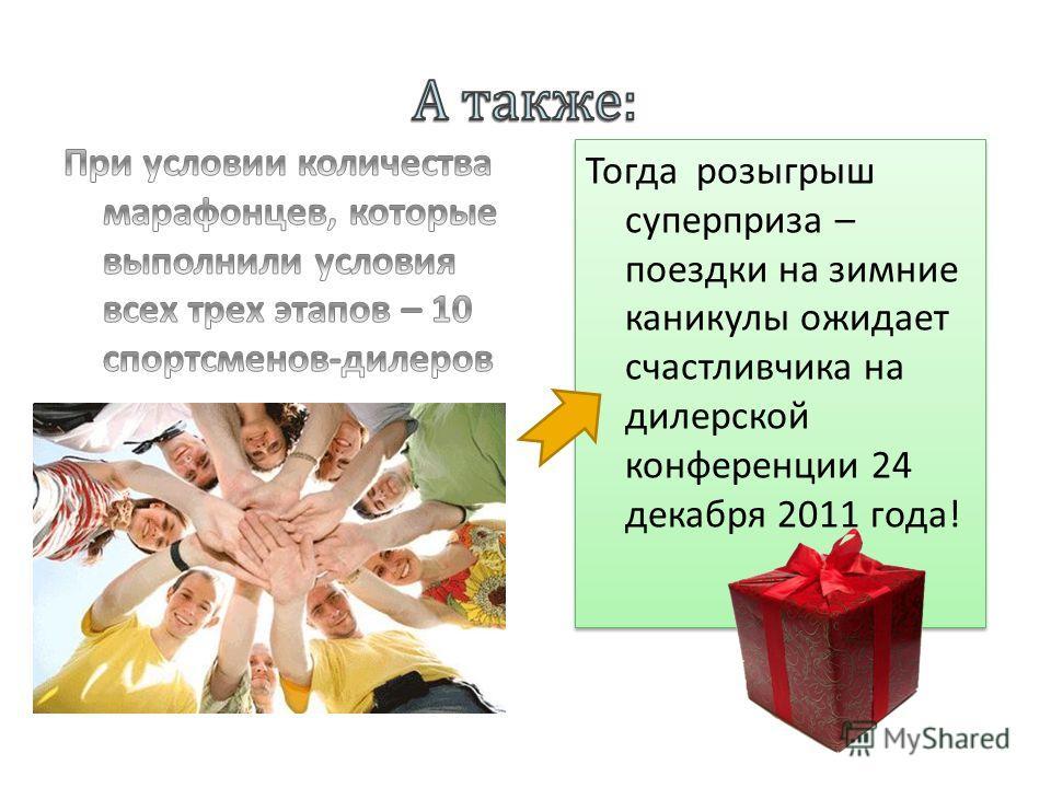 Тогда розыгрыш суперприза – поездки на зимние каникулы ожидает счастливчика на дилерской конференции 24 декабря 2011 года!