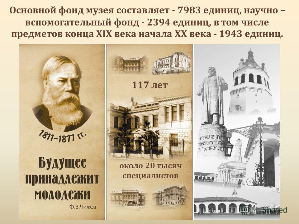 Основной фонд музея составляет - 7983 единиц, научно – вспомогательный фонд - 2394 единиц, в том числе предметов конца XIX века начала XX века - 1943 единиц. 117 лет около 20 тысяч специалистов