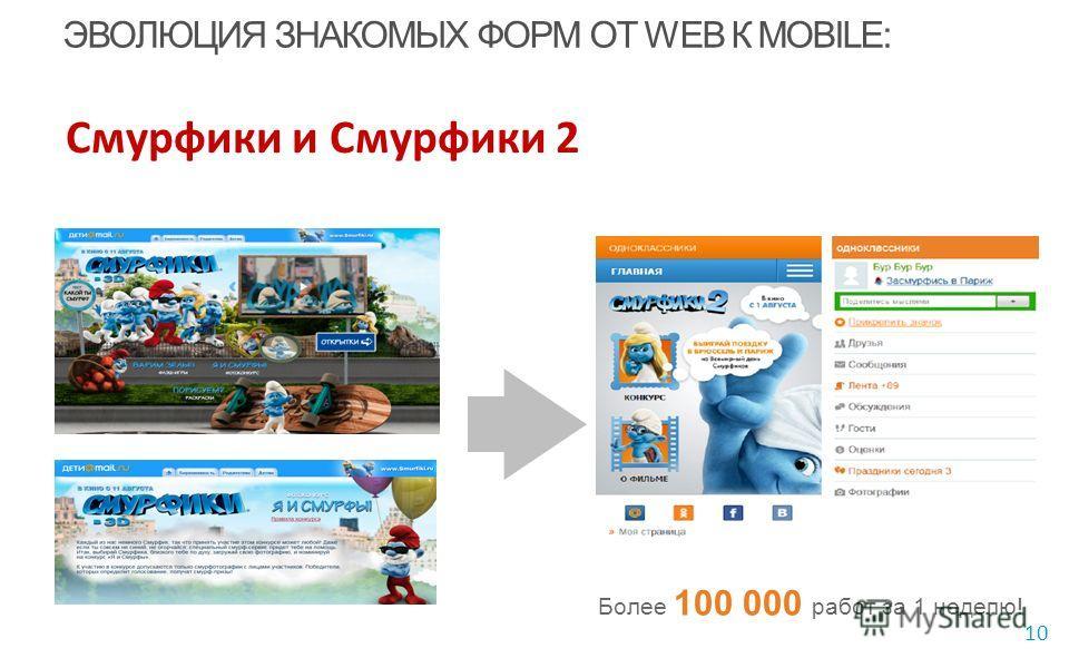 10 Более 100 000 работ за 1 неделю! ЭВОЛЮЦИЯ ЗНАКОМЫХ ФОРМ ОТ WEB К MOBILE: Смурфики и Смурфики 2