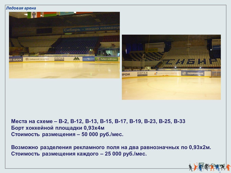 Ледовая арена Места на схеме – В-2, В-12, В-13, В-15, В-17, В-19, В-23, В-25, В-33 Борт хоккейной площадки 0,93х4м Стоимость размещения – 50 000 руб./мес. Возможно разделения рекламного поля на два равнозначных по 0,93х2м. Стоимость размещения каждог
