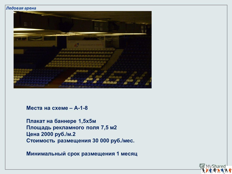 Ледовая арена Места на схеме – А-1-8 Плакат на баннере 1,5х5м Площадь рекламного поля 7,5 м2 Цена 2000 руб./м.2 Стоимость размещения 30 000 руб./мес. Минимальный срок размещения 1 месяц