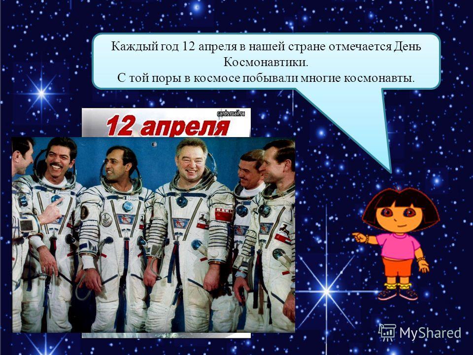 Каждый год 12 апреля в нашей стране отмечается День Космонавтики. С той поры в космосе побывали многие космонавты. Каждый год 12 апреля в нашей стране отмечается День Космонавтики. С той поры в космосе побывали многие космонавты.