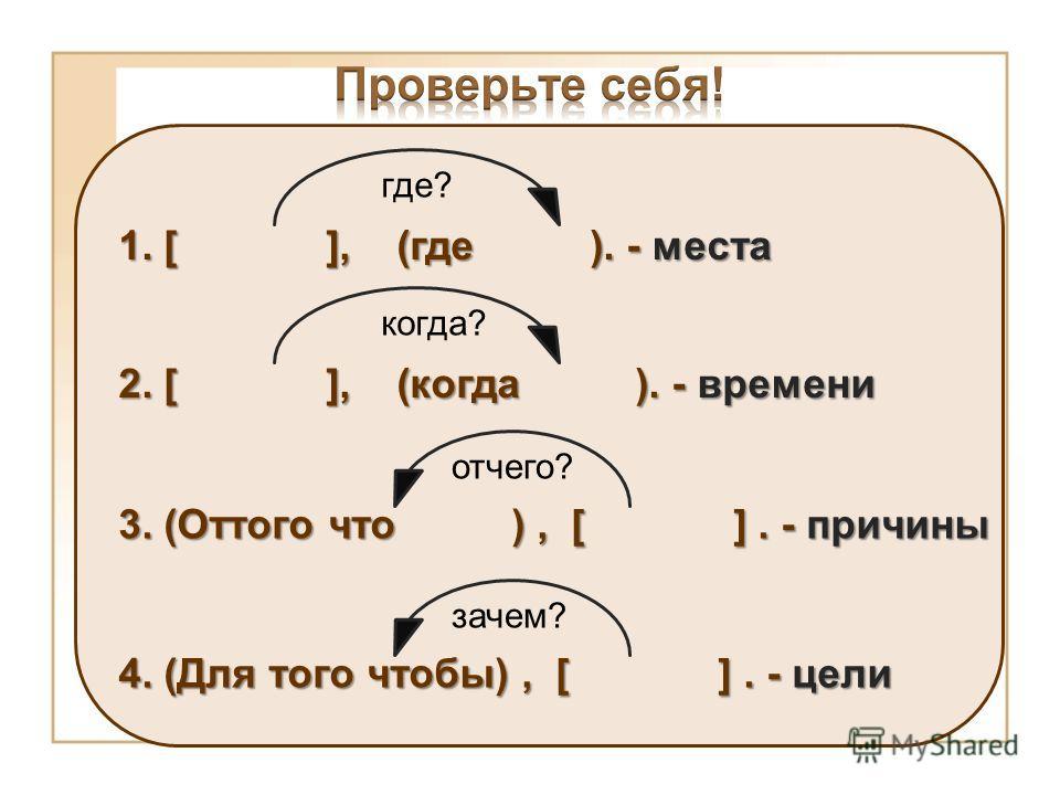 1. [ ], (где ). - места где? 2. [ ], (когда ). - времени когда? 3. (Оттого что ), [ ]. - причины отчего? 4. (Для того чтобы), [ ]. - цели зачем?