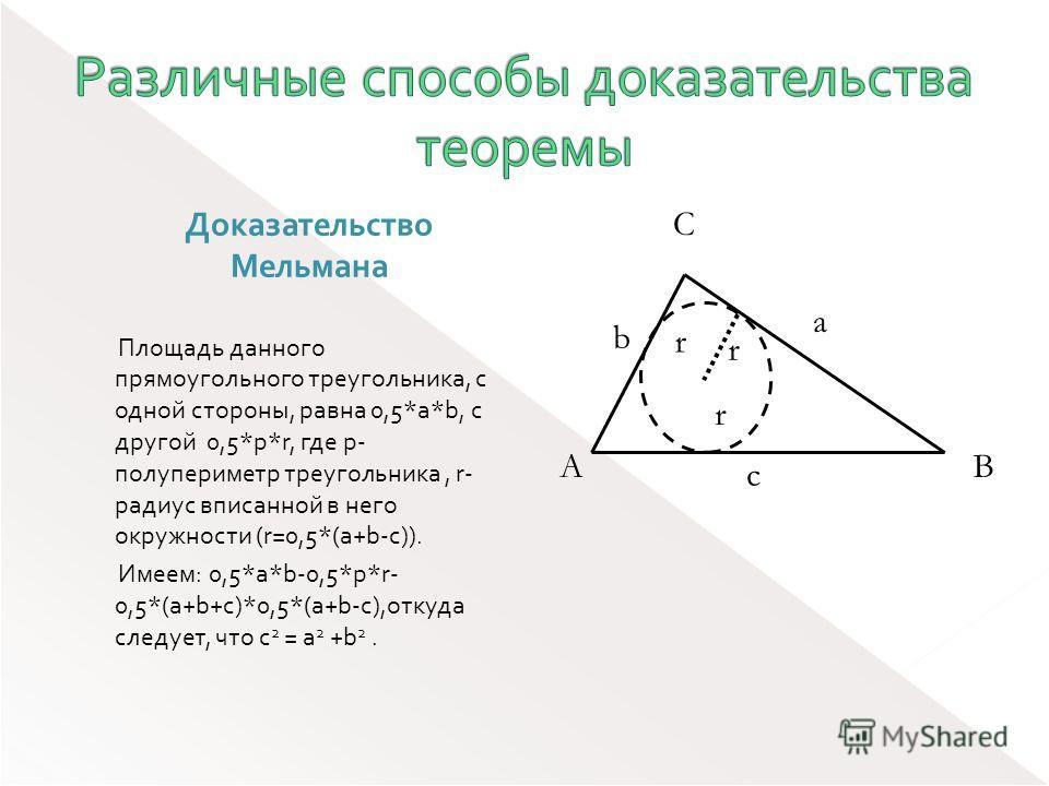 Доказательство Мельмана Площадь данного прямоугольного треугольника, с одной стороны, равна 0,5*a*b, с другой 0,5*p*r, где p- полупериметр треугольника, r- радиус вписанной в него окружности (r=0,5*(a+b-c)). Имеем: 0,5*a*b-0,5*p*r- 0,5*(a+b+c)*0,5*(a