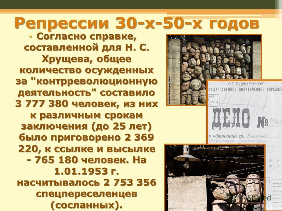 Репрессии 30-х-50-х годов Согласно справке, составленной для Н. С. Хрущева, общее количество осужденных за
