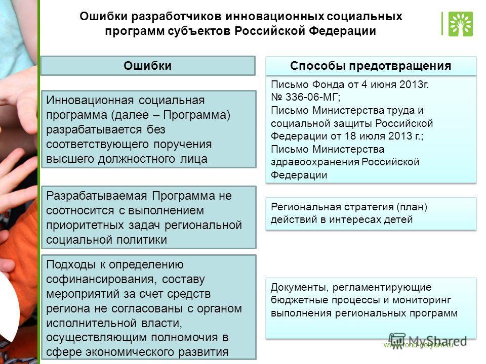 www.fond-detyam.ru Ошибки разработчиков инновационных социальных программ субъектов Российской Федерации Инновационная социальная программа (далее – Программа) разрабатывается без соответствующего поручения высшего должностного лица Письмо Фонда от 4