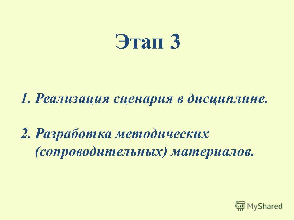 Этап 3 1. Реализация сценария в дисциплине. 2. Разработка методических (сопроводительных) материалов.
