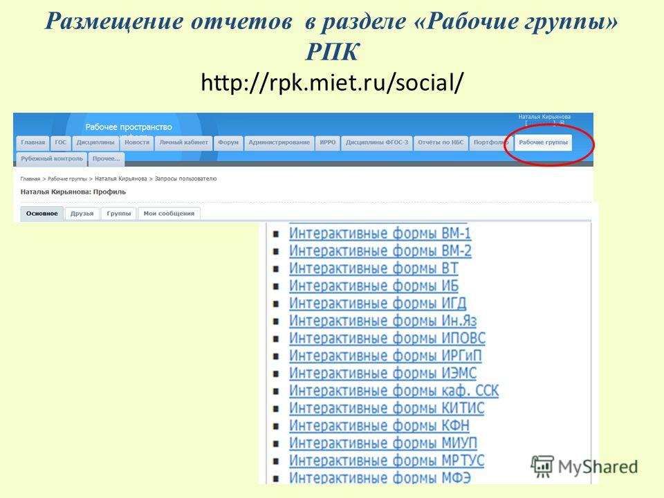 Размещение отчетов в разделе «Рабочие группы» РПК http://rpk.miet.ru/social/