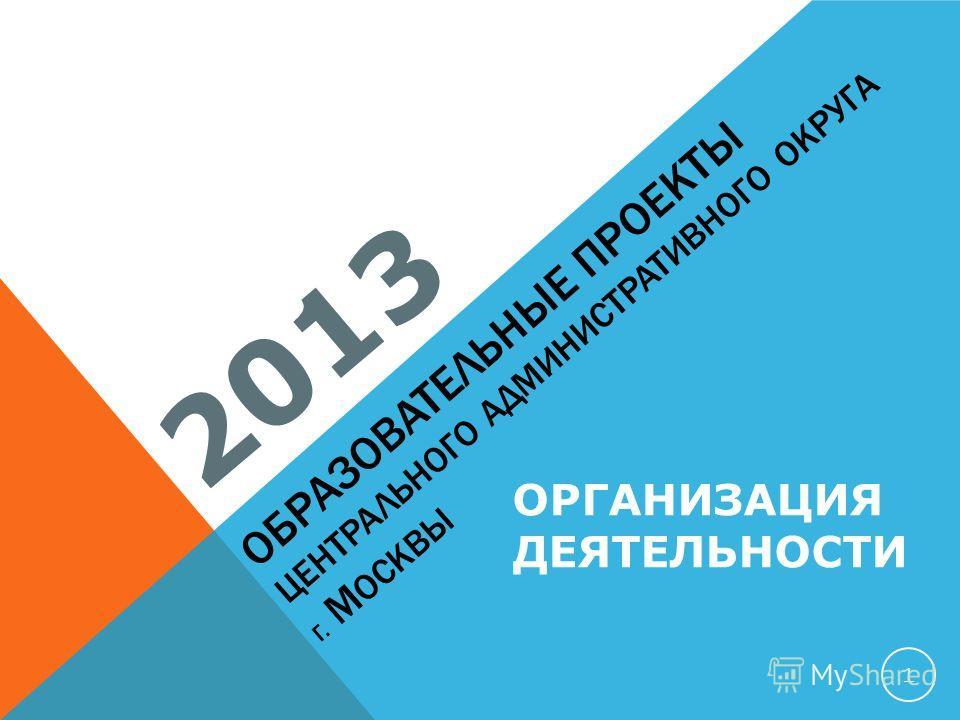 ОБРАЗОВАТЕЛЬНЫЕ ПРОЕКТЫ ЦЕНТРАЛЬНОГО АДМИНИСТРАТИВНОГО ОКРУГА Г. М ОСКВЫ 2013 1 ОРГАНИЗАЦИЯ ДЕЯТЕЛЬНОСТИ