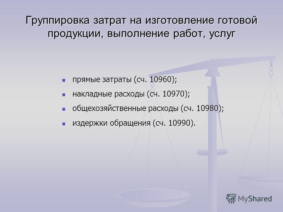 Группировка затрат на изготовление готовой продукции, выполнение работ, услуг прямые затраты (сч. 10960); прямые затраты (сч. 10960); накладные расходы (сч. 10970); накладные расходы (сч. 10970); общехозяйственные расходы (сч. 10980); общехозяйственн