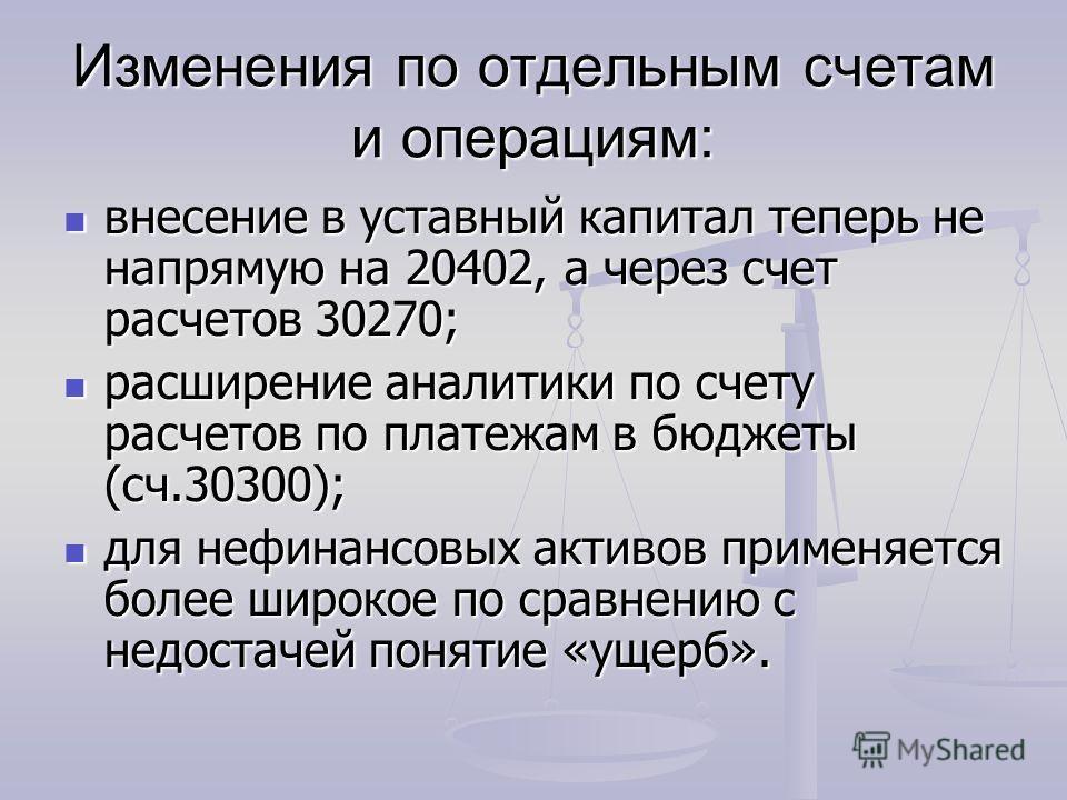 Изменения по отдельным счетам и операциям: внесение в уставный капитал теперь не напрямую на 20402, а через счет расчетов 30270; внесение в уставный капитал теперь не напрямую на 20402, а через счет расчетов 30270; расширение аналитики по счету расче