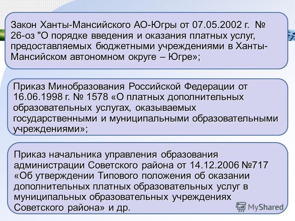 Закон Ханты-Мансийского АО-Югры от 07.05.2002 г. 26-оз