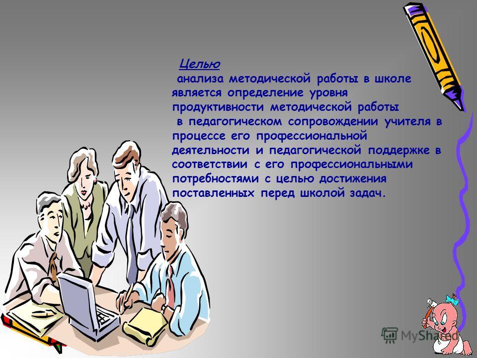 Целью анализа методической работы в школе является определение уровня продуктивности методической работы в педагогическом сопровождении учителя в процессе его профессиональной деятельности и педагогической поддержке в соответствии с его профессиональ