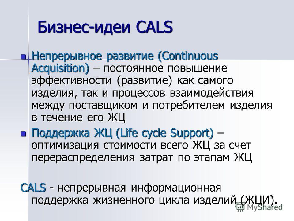 Бизнес-идеи CALS Непрерывное развитие (Continuous Acquisition) – постоянное повышение эффективности (развитие) как самого изделия, так и процессов взаимодействия между поставщиком и потребителем изделия в течение его ЖЦ Непрерывное развитие (Continuo