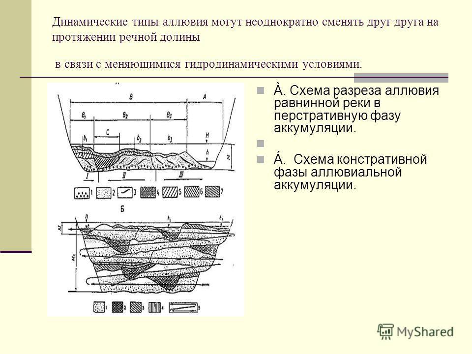 Динамические типы аллювия могут неоднократно сменять друг друга на протяжении речной долины в связи с меняющимися гидродинамическими условиями. À. Схема разреза аллювия равнинной реки в перстративную фазу аккумуляции. Á. Схема констративной фазы аллю
