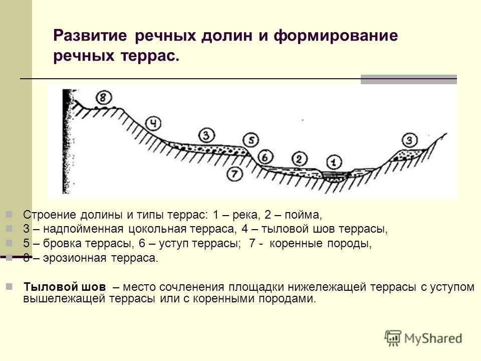 Развитие речных долин и формирование речных террас. Строение долины и типы террас: 1 – река, 2 – пойма, 3 – надпойменная цокольная терраса, 4 – тыловой шов террасы, 5 – бровка террасы, 6 – уступ террасы; 7 - коренные породы, 8 – эрозионная терраса. Т