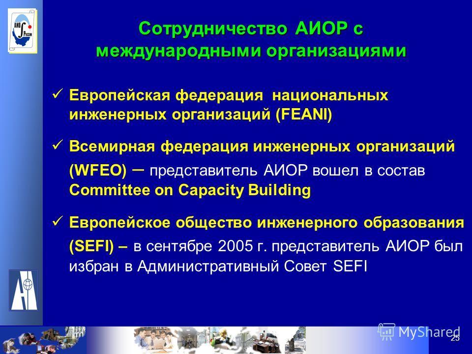25 Сотрудничество АИОР с международными организациями Европейская федерация национальных инженерных организаций (FEANI) Всемирная федерация инженерных организаций (WFEO) – представитель АИОР вошел в состав Committee on Capacity Building Европейское о