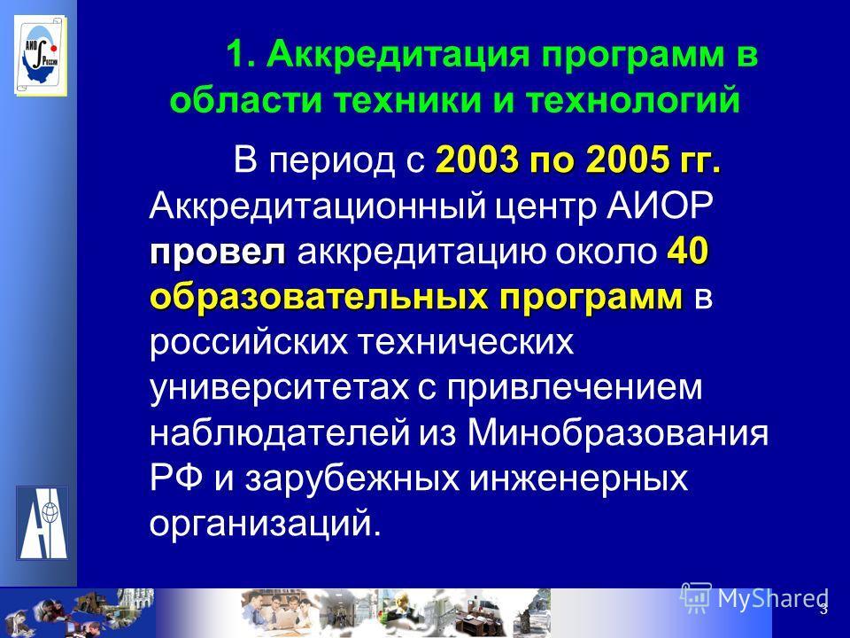3 1. Аккредитация программ в области техники и технологий 2003 по 2005 гг. провел40 образовательных программ В период с 2003 по 2005 гг. Аккредитационный центр АИОР провел аккредитацию около 40 образовательных программ в российских технических универ