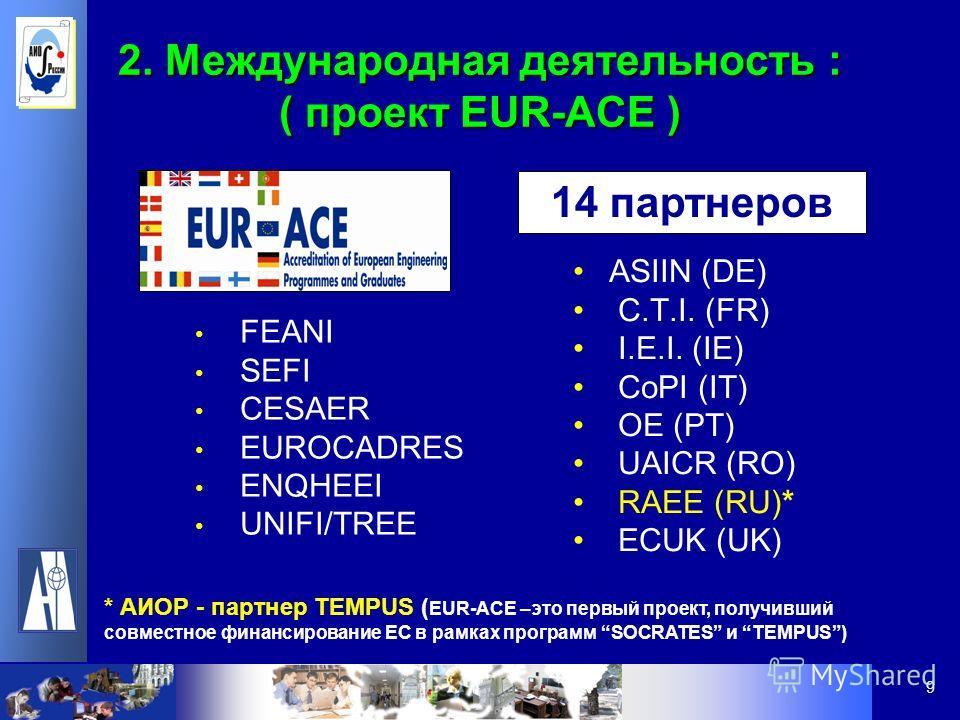 9 2. Международная деятельность : ( проект EUR-ACE ) FEANI SEFI CESAER EUROCADRES ENQHEEI UNIFI/TREE ASIIN (DE) C.T.I. (FR) I.E.I. (IE) CoPI (IT) OE (PT) UAICR (RO) RAEE (RU)* ECUK (UK) 14 партнеров * АИОР - партнер TEMPUS ( EUR-ACE –это первый проек