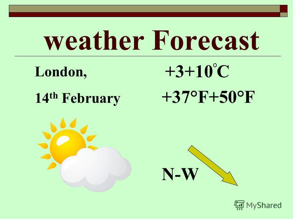 weather Forecast +3+10 C +37°F+50°F N-W o London, 14 th February