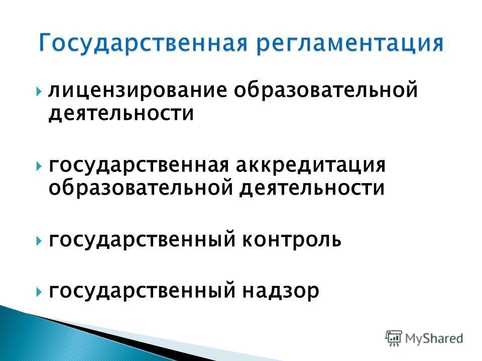 лицензирование образовательной деятельности государственная аккредитация образовательной деятельности государственный контроль государственный надзор