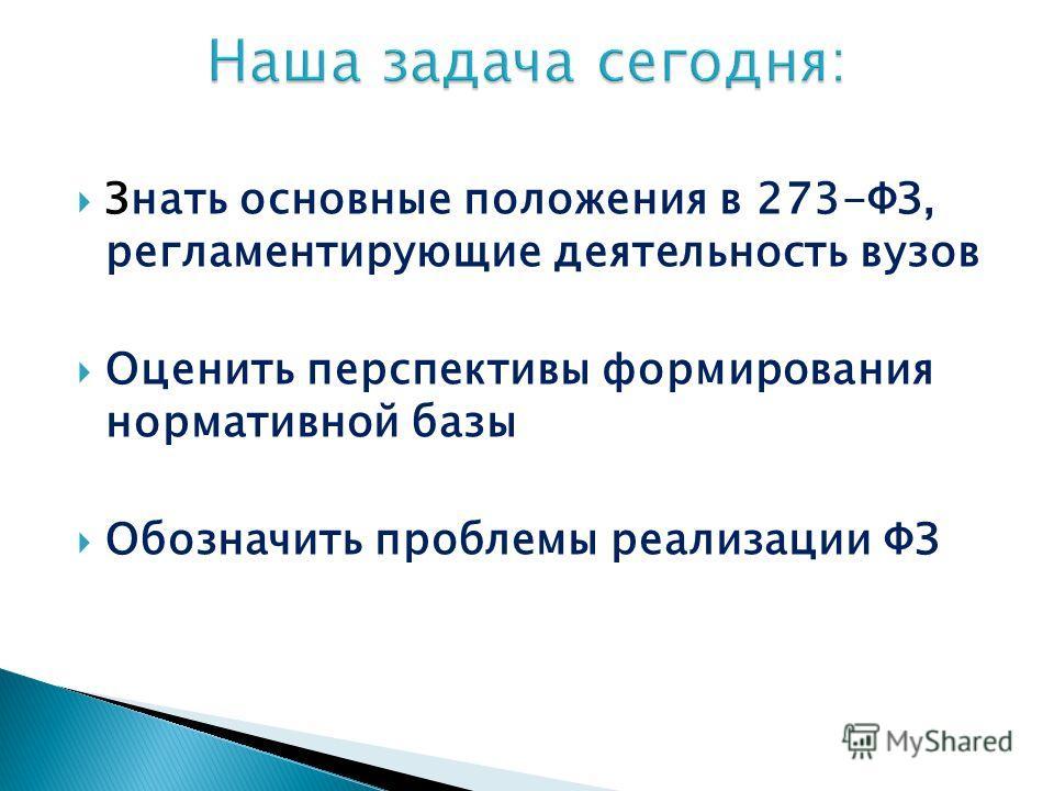 Знать основные положения в 273-ФЗ, регламентирующие деятельность вузов Оценить перспективы формирования нормативной базы Обозначить проблемы реализации ФЗ