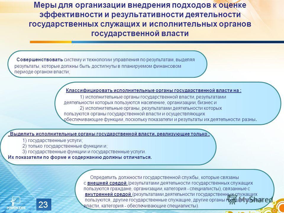 Меры для организации внедрения подходов к оценке эффективности и результативности деятельности государственных служащих и исполнительных органов государственной власти 23 Совершенствовать систему и технологии управления по результатам, выделяя резуль
