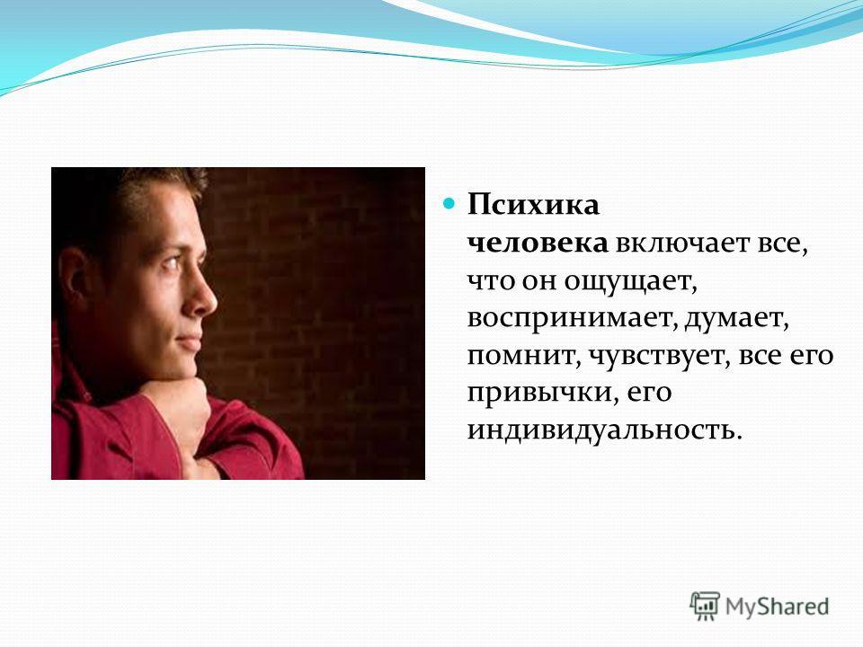 Психика человека включает все, что он ощущает, воспринимает, думает, помнит, чувствует, все его привычки, его индивидуальность.