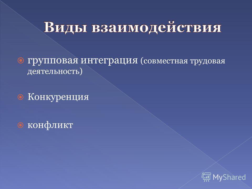 групповая интеграция (совместная трудовая деятельность) Конкуренция конфликт