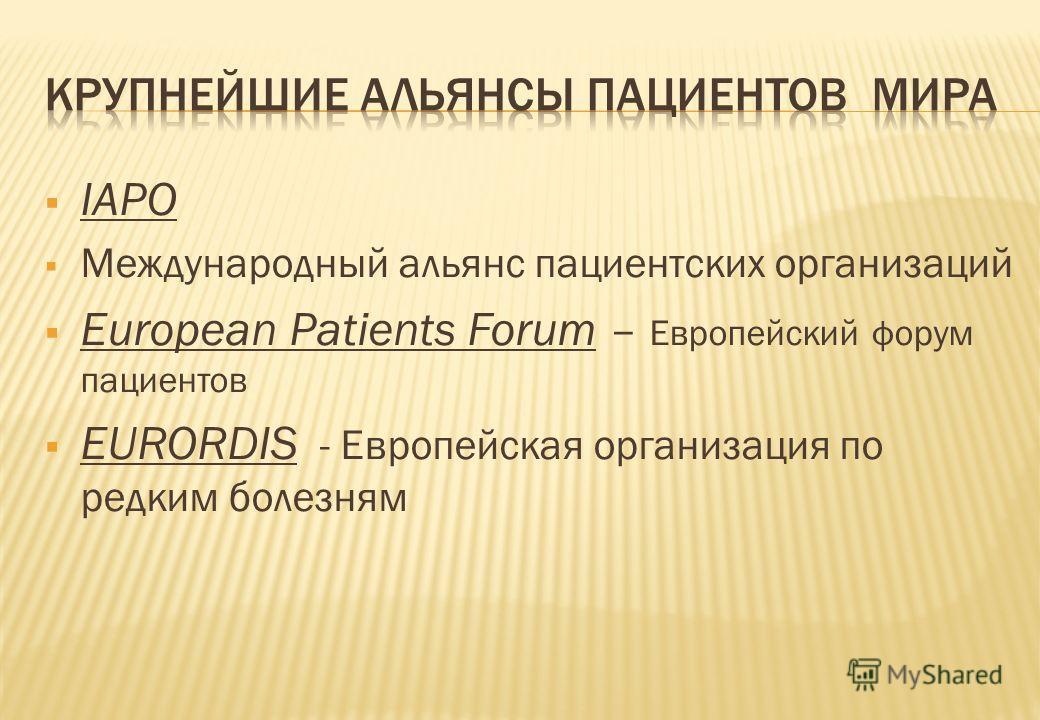 IAPO Международный альянс пациентских организаций European Patients Forum – Европейский форум пациентов EURORDIS - Европейская организация по редким болезням