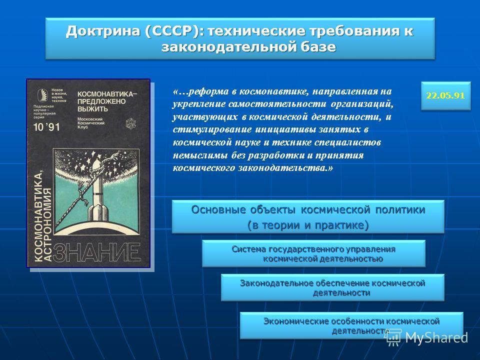 Доктрина (СССР): технические требования к законодательной базе 22.05.91 «…реформа в космонавтике, направленная на укрепление самостоятельности организаций, участвующих в космической деятельности, и стимулирование инициативы занятых в космической наук