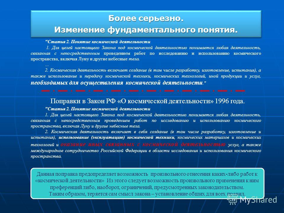 Более серьезно. Изменение фундаментального понятия. Более серьезно. Изменение фундаментального понятия. Поправки в Закон РФ «О космической деятельности» 1996 года.