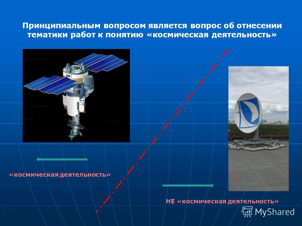 Принципиальным вопросом является вопрос об отнесении тематики работ к понятию «космическая деятельность» «космическая деятельность» НЕ «космическая деятельность»