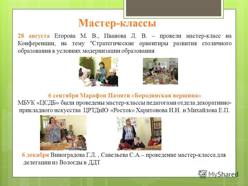 28 августа Егорова М. В., Иванова Л. В. – провели мастер-класс на Конференции, на тему