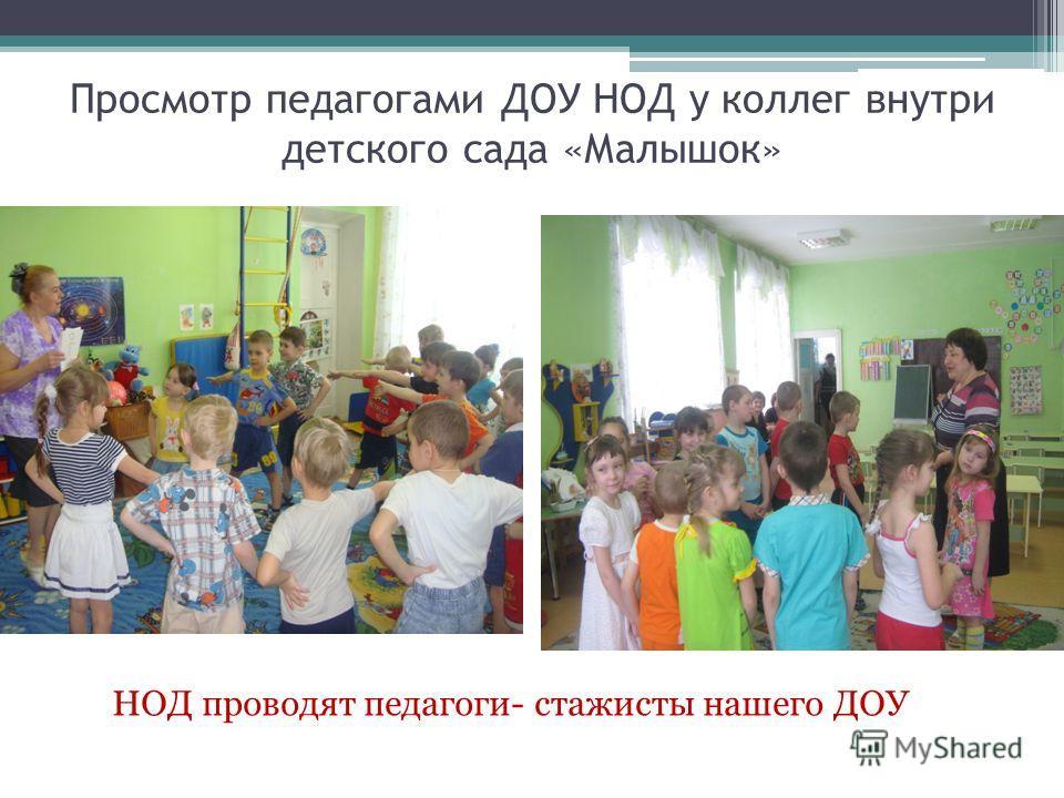 Просмотр педагогами ДОУ НОД у коллег внутри детского сада «Малышок» НОД проводят педагоги- стажисты нашего ДОУ