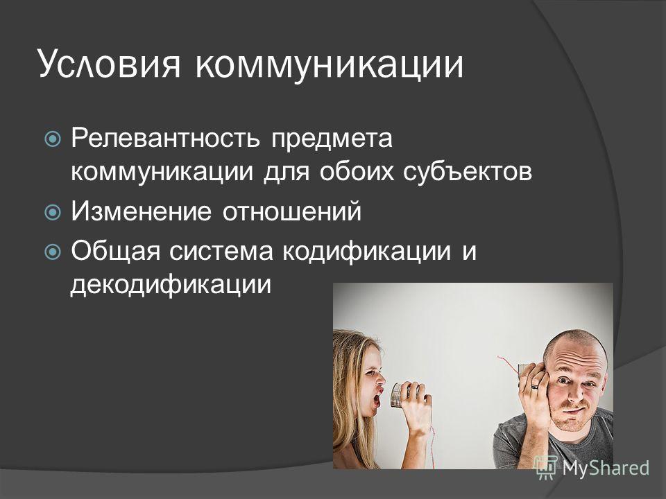 Условия коммуникации Релевантность предмета коммуникации для обоих субъектов Изменение отношений Общая система кодификации и декодификации