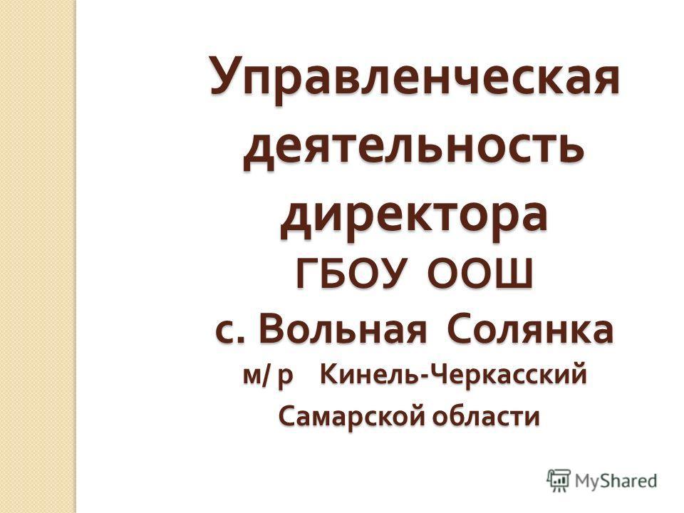 Управленческая деятельность директора ГБОУ ООШ с. Вольная Солянка м / р Кинель - Черкасский Самарской области