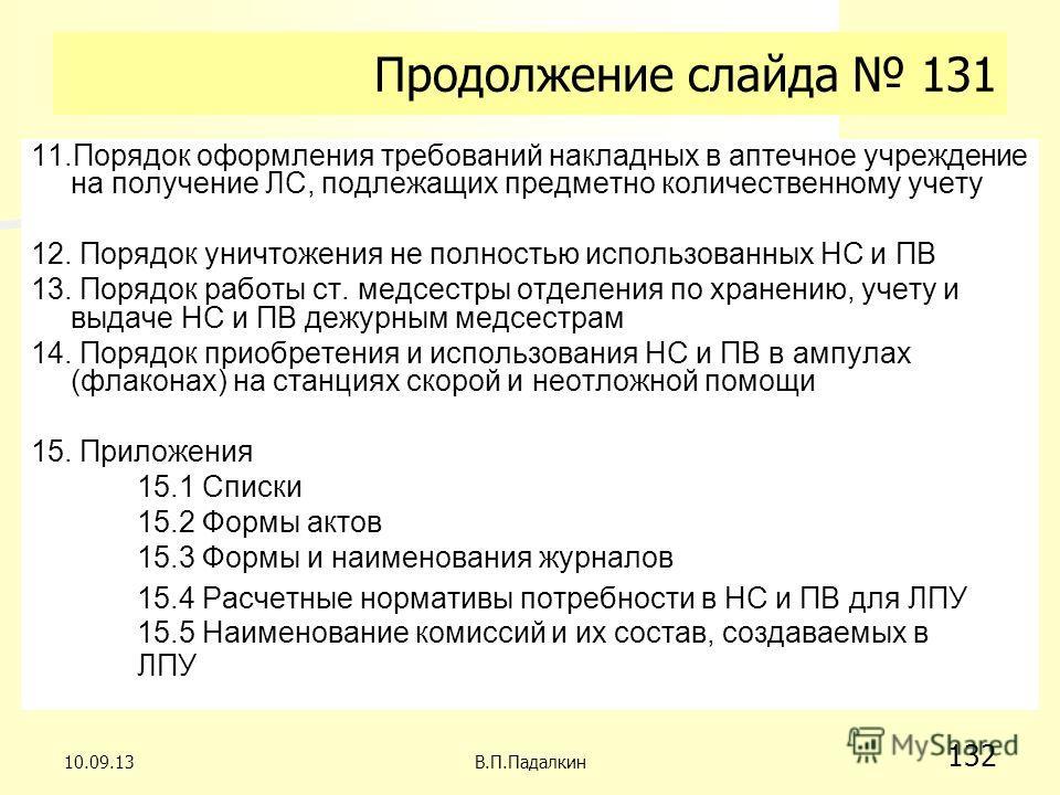 Продолжение слайда 131 11.Порядок оформления требований накладных в аптечное учреждение на получение ЛС, подлежащих предметно количественному учету 12. Порядок уничтожения не полностью использованных НС и ПВ 13. Порядок работы ст. медсестры отделения